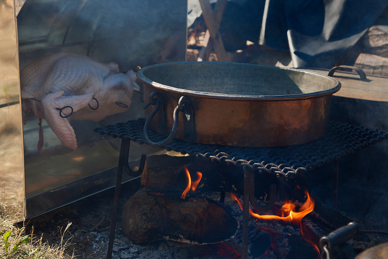 Turkey cooking slowly.