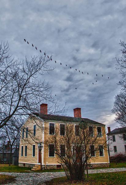 Hosmer's Inn With flight of Geese overhead