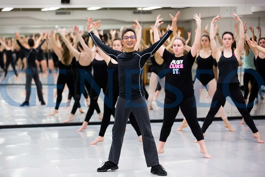 Guest artist Chung-Fu Chang, a professor in the Colorado State University School of Music, Theatre and Dance, teaches a master class on Feb. 21. Geneseo's Asian/Asian American Studies and Programming and the Department of Theatre and Dance are sponsoring his residence on campus Feb. 21-25. Orchesis, a student dance organization, sponsored his master class. Photo by Keith Walters '11.