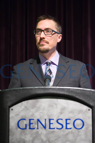 Justin Behrend, associate professor of history, delivers the MLK Jr. Day of Service keynote address. / Photo by Keith Walters