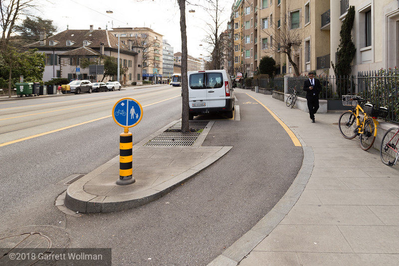 Sidewalk treatment with parking bays