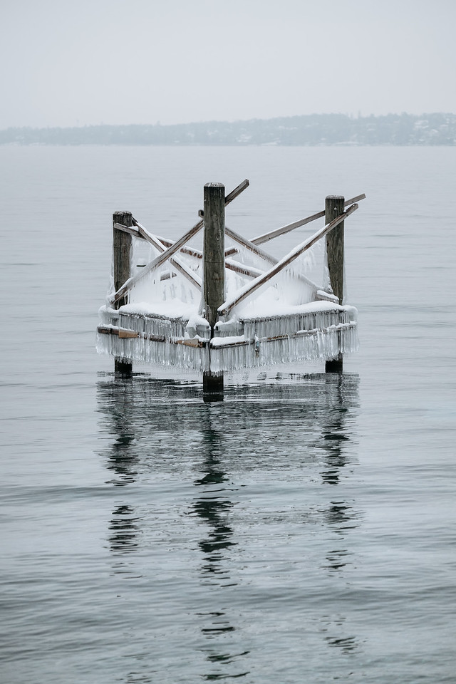 Frozen wooden structure in the lake Geneva