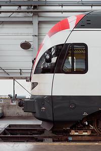 Inside one of the SBB CFF Swiss train repair facility in Geneva