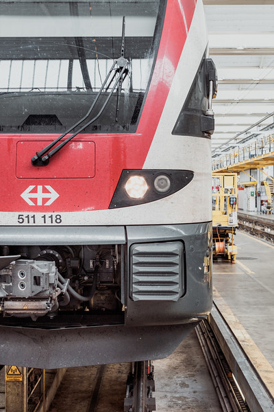 Inside one of the SBB CFF Swiss train repair facility in Geneva