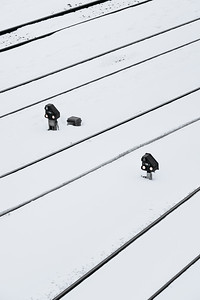 Train tracks under the snow in Geneva