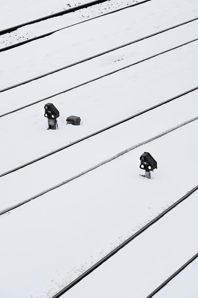 Train tracks under the snow in Geneva