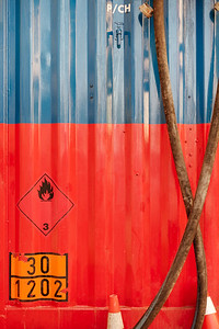 Red and blue container in Geneva