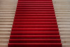 Stairs with red carpet in the MAH museum Geneva