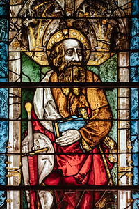 A saint on stained glass at the MAH in Geneva