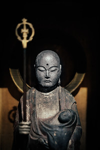 An ancient monk sculpture at the Musee d'ethnographie Geneva