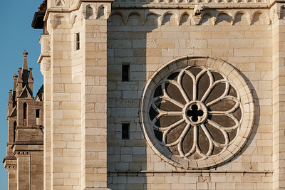 Detail of a tower of the St. Pierre Cathedral in Geneva