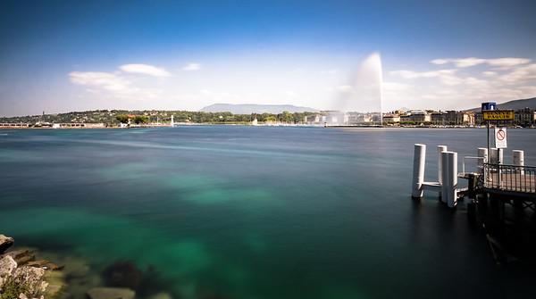 Geneva lake in a long exposure