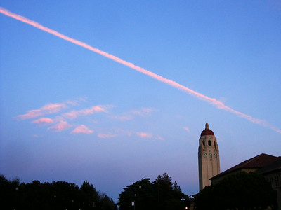 Airplane streak over Stanford