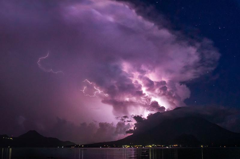 Volcano, Lake, Lightning, Stars