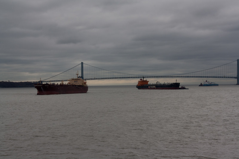 Torm Saone and NS Parade in front of the Verrazano Bridge