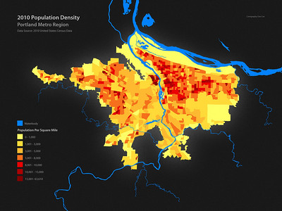 2010 Population Density, Portland Metro Region