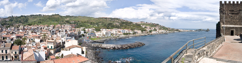 From the Castle the town of ACi Castello, Sicily