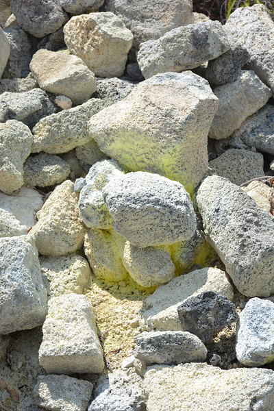 Sulfur-coated Rocks