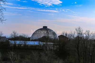 Desert dome at Henry Doorly Zoo Omaha Nebraska at sunset skyline