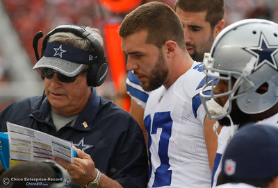 Geoff Swaim talks with Dallas Cowboy's tight end coach Michael Pope during a football game against the 49ers Sunday October 2, 2016 at Levi's Stadium in Santa Clara, California. Emily Bertolino -- Enterprise-Record