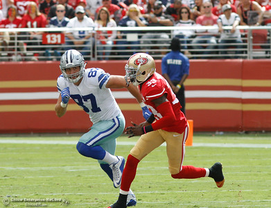 Dallas Cowboy's Geoff Swaim plays defensive offense as he runs after 49er's Rashard Robinson during a football game Sunday October 2, 2016 at Levi's Stadium in Santa Clara, California. Emily Bertolino -- Enterprise-Record