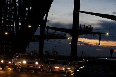 RTA. Driving over the Sydney Harbour Bridge at dusk as seen from the roadway.. night work 20071128.