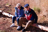 John & Winifred Dixon sitting on a log at Cathedral Rock