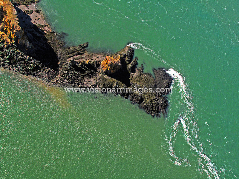 Cape Split, Tidal Current, Bay of Fundy, Nova Scotia, Canada, Vertical, Aerial