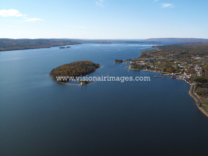 Baddeck Townsite Aerial, Wagmatcook First Nation, Cape Breton, Nova Scotia, Canada