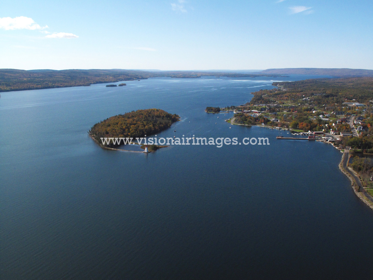 Baddeck Townsite Aerial, Wagmatcook First Nation, Cape Breton, Nova Scotia, Canada
