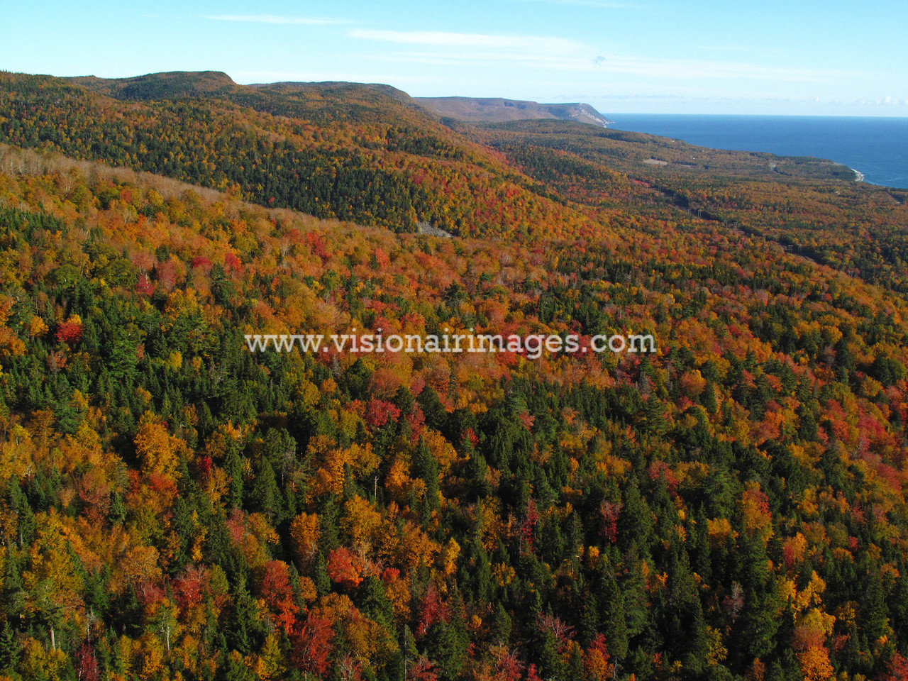 Cape Breton, Fall Color Aerial, Nova Scotia, Canada