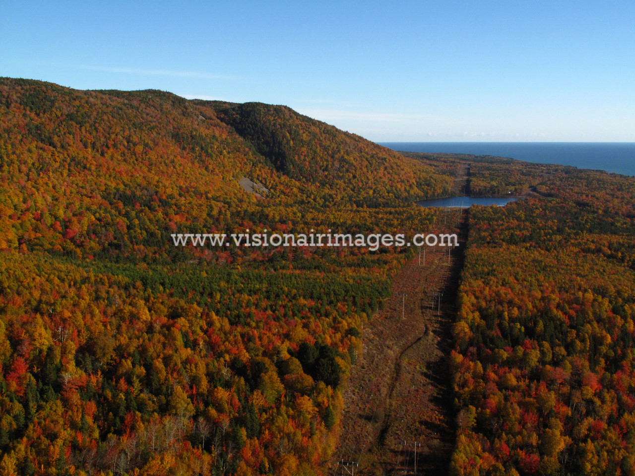 Fall Color Aerial, Powerline Cooridor to Wreck Cove, Cape Breton Island, Nova Scotia, Canada