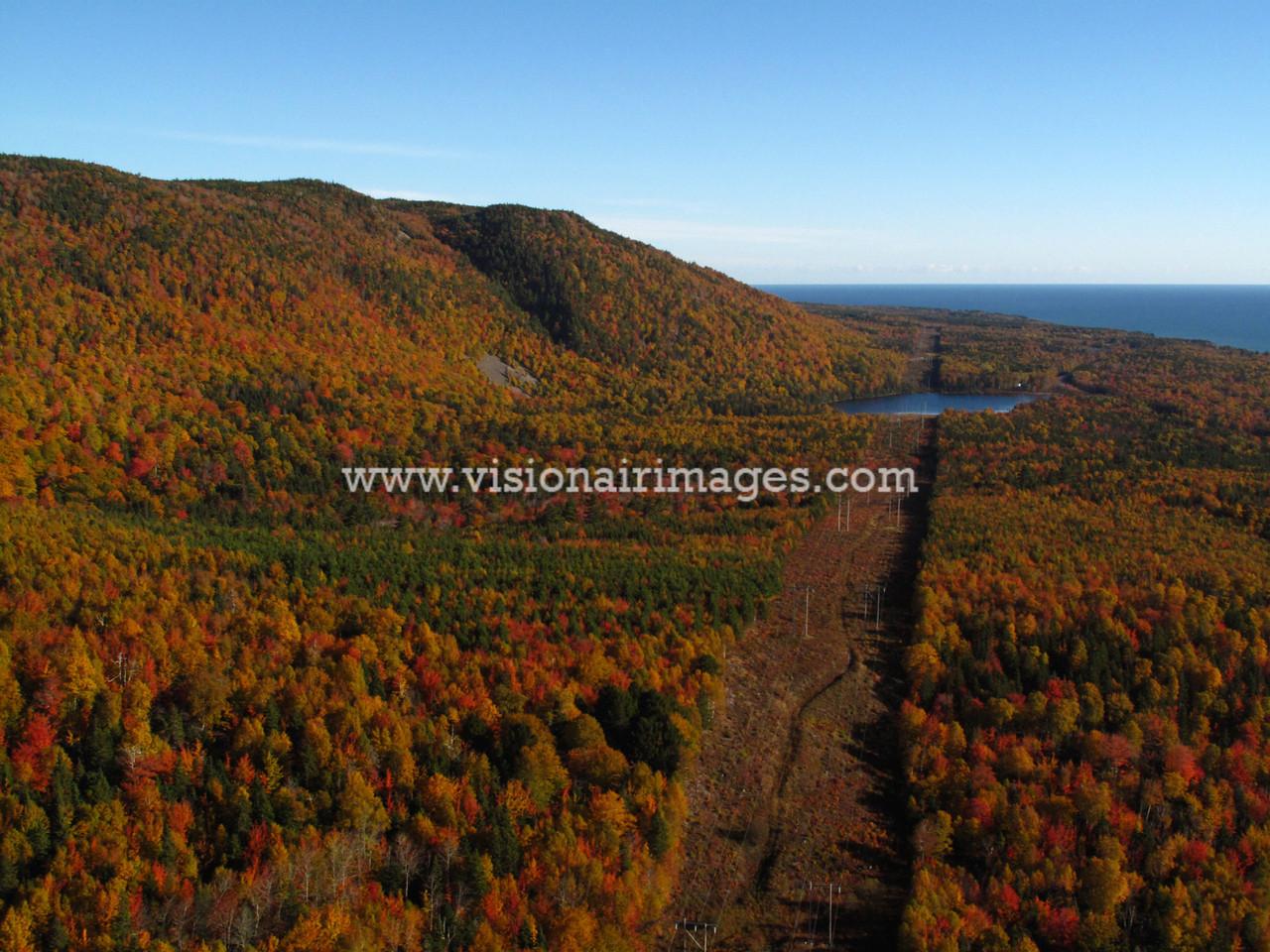 Fall Color Aerial, Powerline Cooridor to Wreck Cove, Cape Breton Island, Nova Scotia, Canada