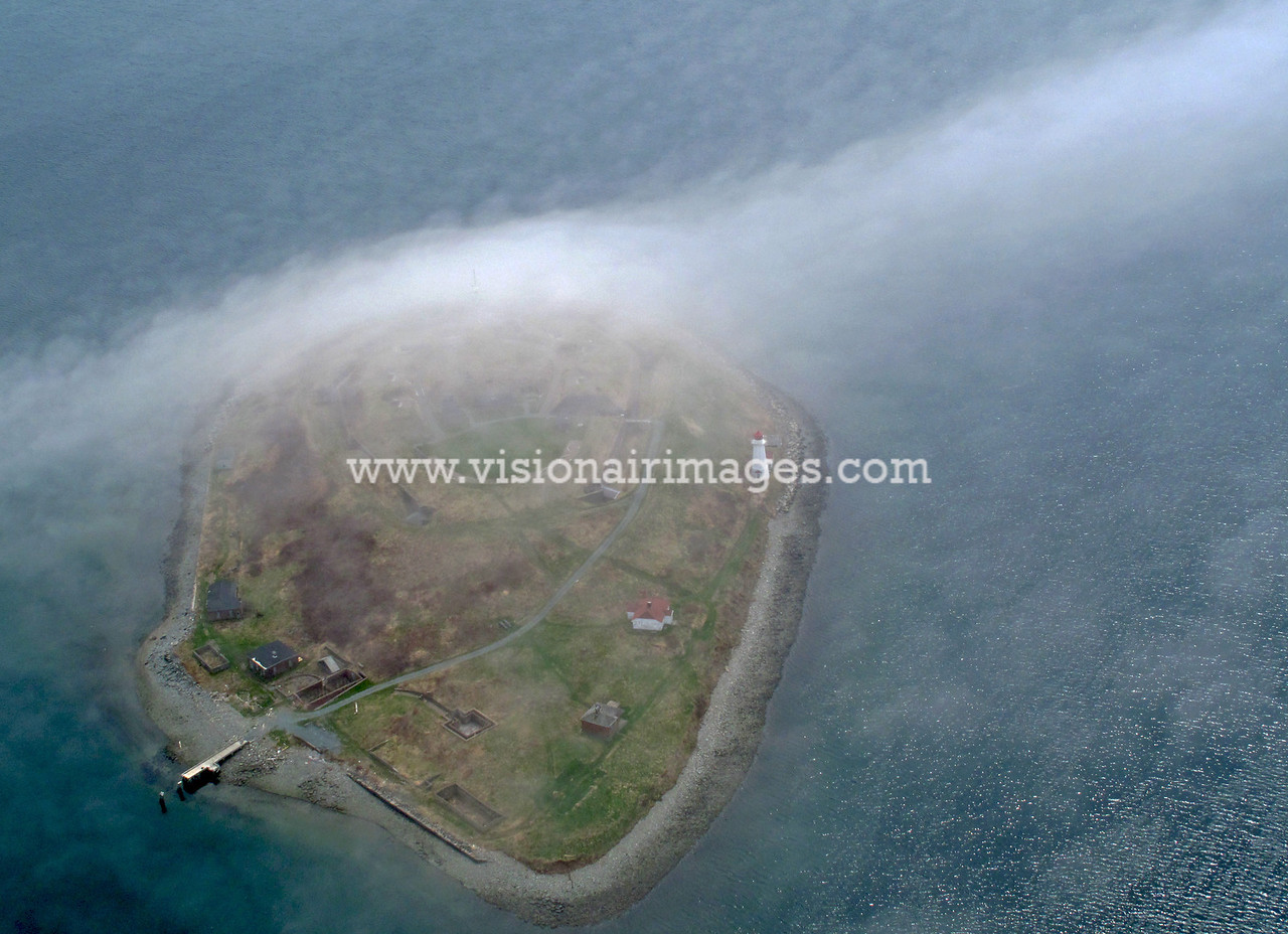 Halifax, Georges Island Aerial, Fog, Halifax Harbour,Nova Scotia, Canada