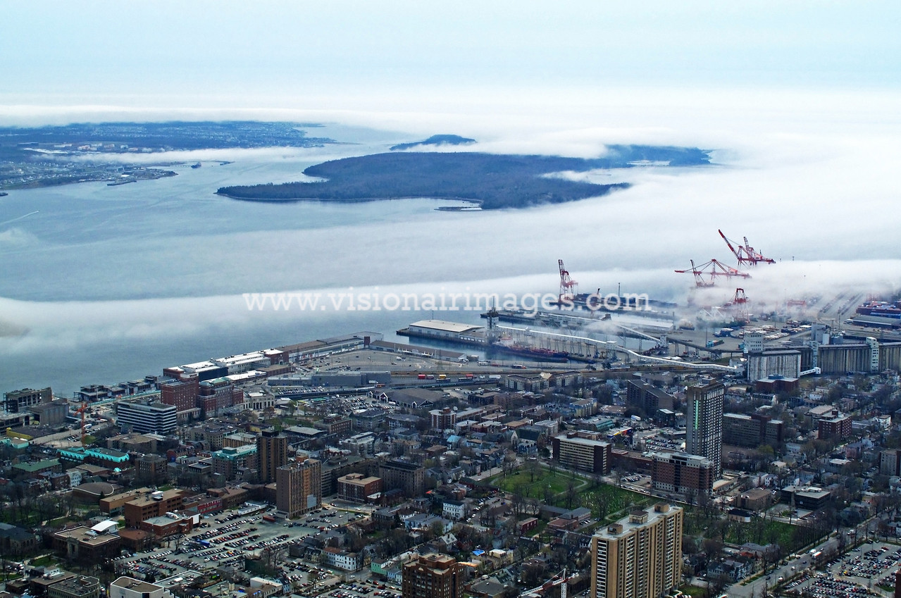 Halifax Harbour, Halterm, Eastern Passage, Fog, Halifax, Nova Scotia, Canada
