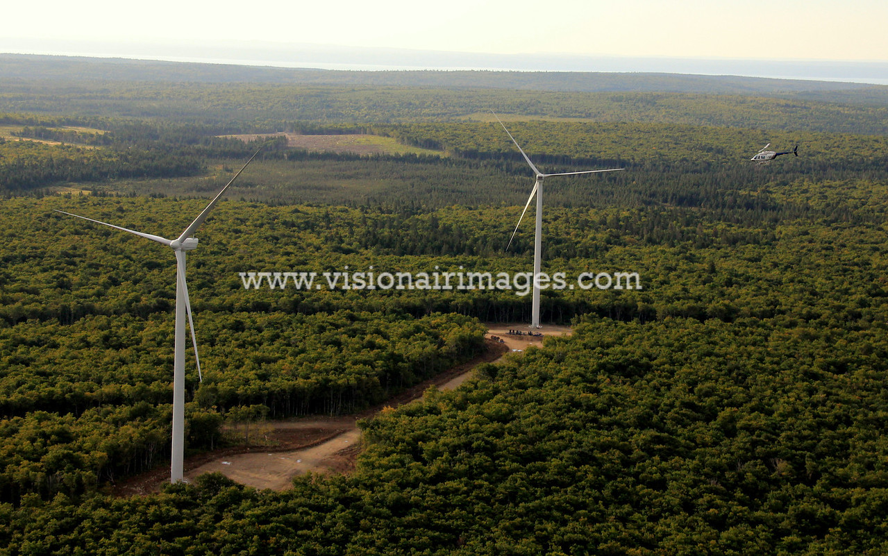 Air to air helicopter, Wind Turbine Aerial, near Sussex, New Brunswick