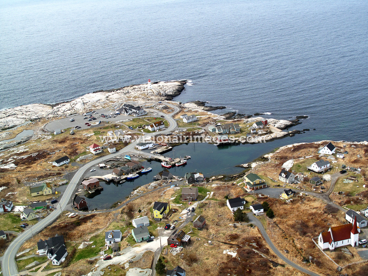 Peggy's Cove, Lighthouse, Aerial, Fishing Village,Prospect Road, 333, Halifax, Nova Scotia, Canada