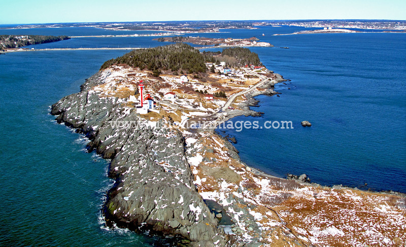 Cape Forchu Light, Yarmouth, SW Nova Scotia, Winter, Aerial, Nova Scotia, Canada