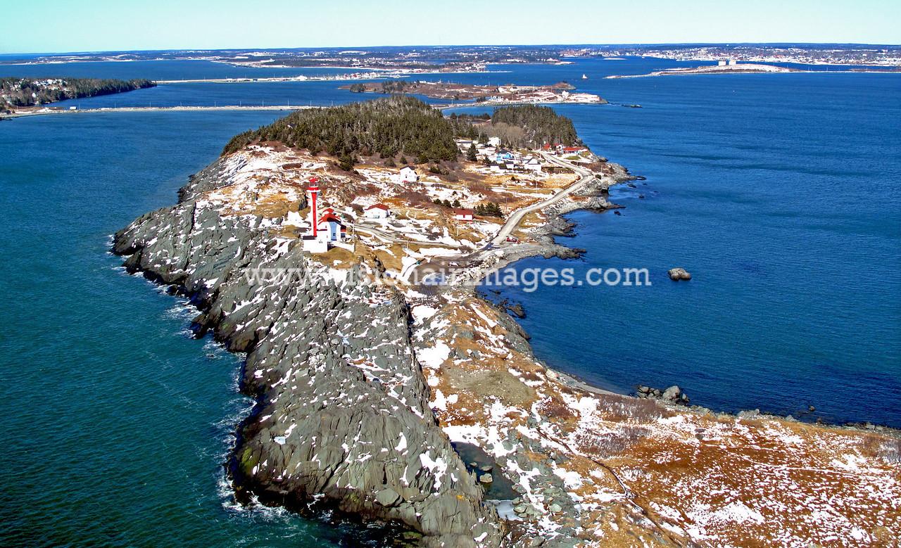 Cape Forchu Light, Yarmouth, SW Nova Scotia, Winter, Aerial, Nova Scotia, Canada