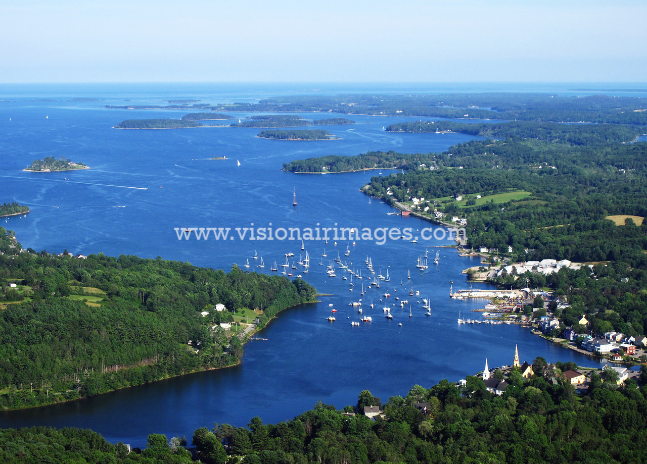 Mahone Bay Townsite, Wooden Boat Festival, Mahone Bay Aerial, Lighthouse Route, Nova Scotia, Canada