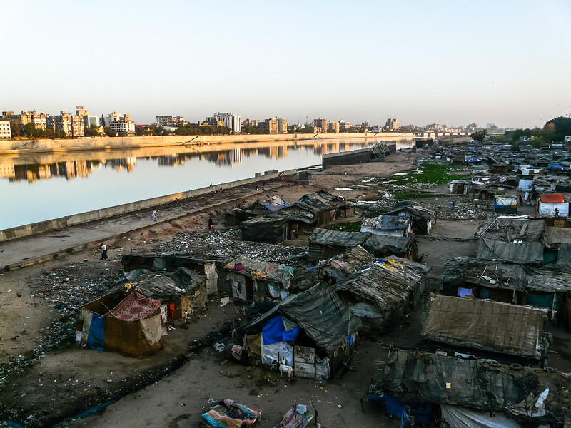Slums along the River, Ahmedabad, India