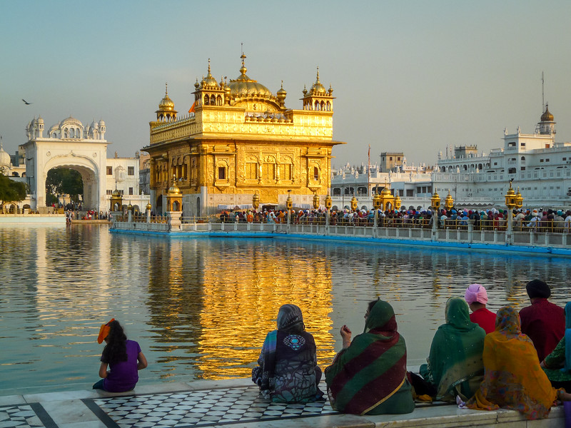 Pilgrims Watching the Sunset on the Golden Temple, Amritsar