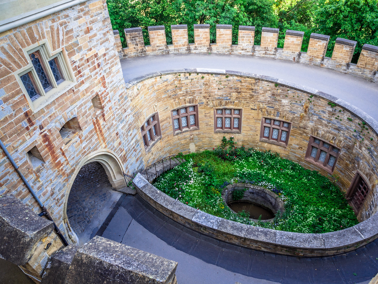 Looking Down to the Well, Hohenzollern Castle, Swabia, Germany