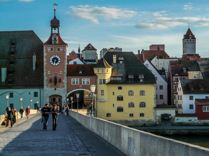 Crossing the Steinerne Brücke, Regensburg