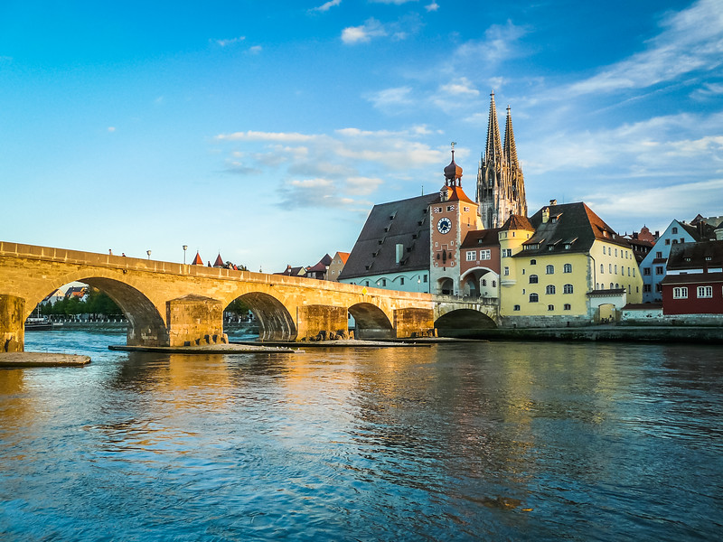 Sunset Light on the Steinerne Brücke, Regensburg