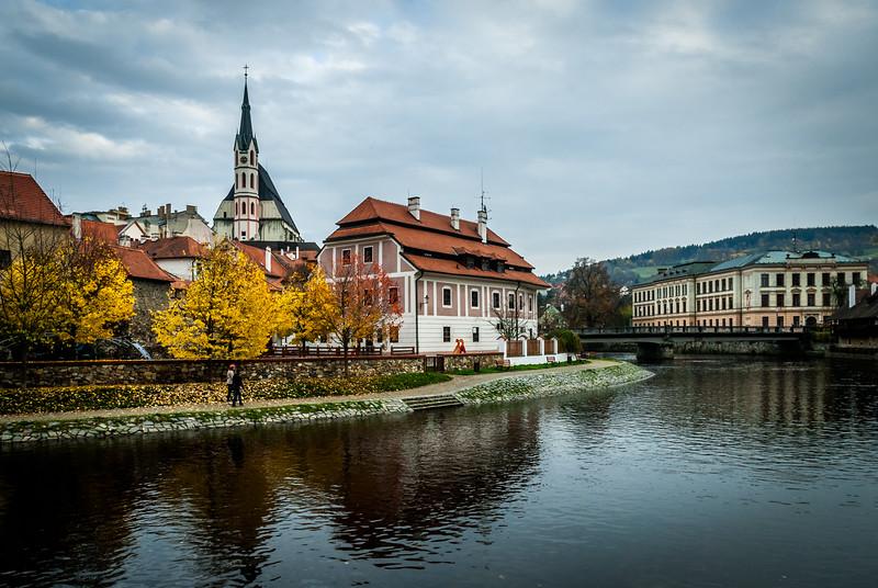 November River Scene, Český Krumlov, Czech Republic