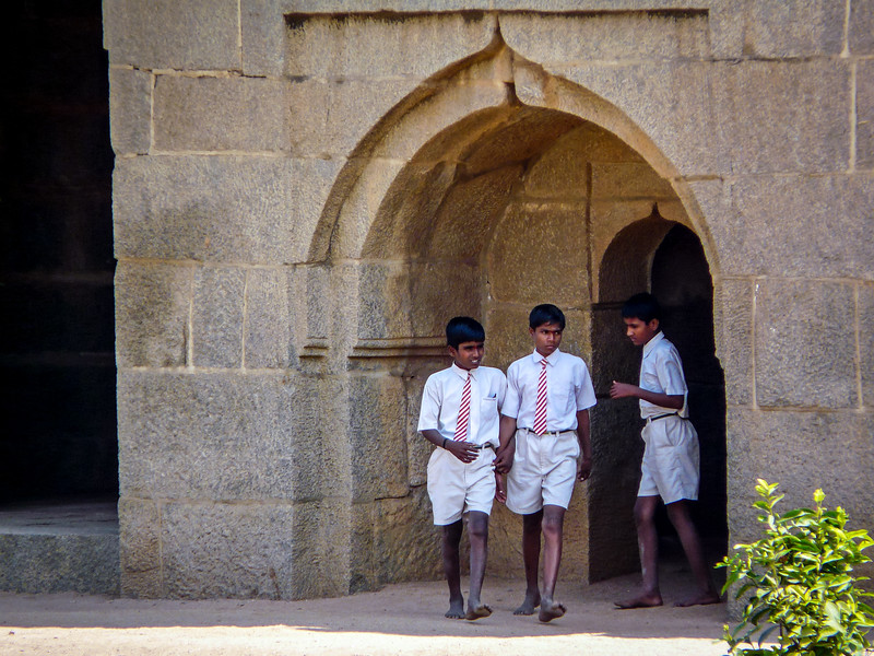 School Boys Investigating the Elephant Stables, Hampi, India