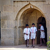 School Boys Investigating the Elephant Stables, Hampi