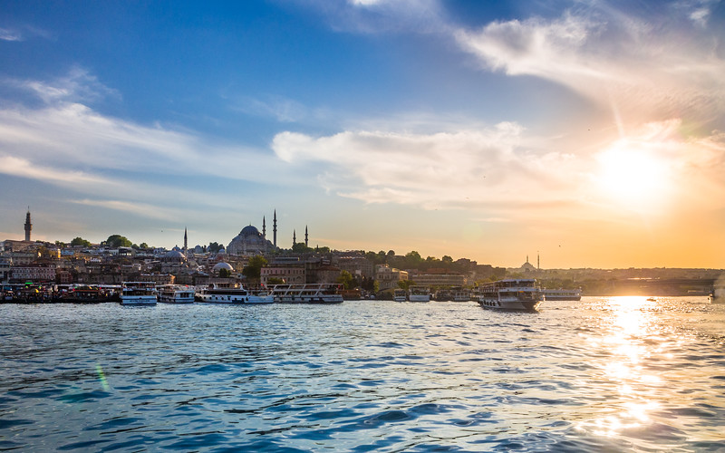 Sun Setting over the Golden Horn, Istanbul, Turkey