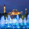 Evening Fountain and the Hagia Sophia, Istanbul
